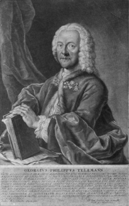 Telemann portrait by Valentin Daniel Preissler (1717-1765) after the painting by Ludwig Michael Schneider (about 1710-1789), Mezzotint with Latin short biography under it (Nuremberg 1750) from the series of the 'Portraits of those now-living Chapel Masters'.