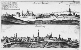 Sorau, views from north and south, copperplate engraving (1714)